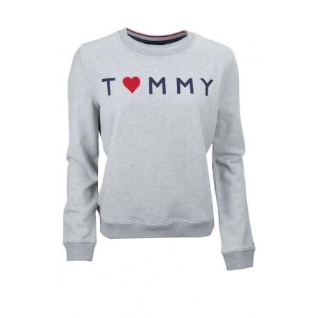 Sweat Tommy Hilfiger Logo Heart gris pour femme