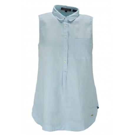 Chemisier en lin Tommy Hilfiger Astrud bleu turquoise pour femme
