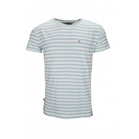 T-shirt col rond Tommy Hilfiger Dénim rayé bleu ciel et blanc pour homme