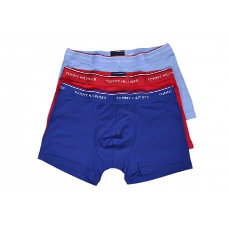 Lot de 3 boxers court Tommy Hilfiger bleu marine bleu ciel et rouge pour homme