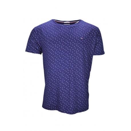 T-shirt col rond Tommy Hilfiger Dénim Print bleu marine à motif floral pour homme