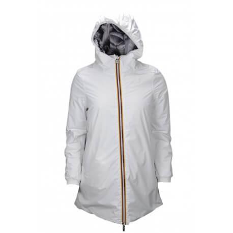 Veste longue K-Way Lolie Warm blanche et à motif pétale noir pour femme