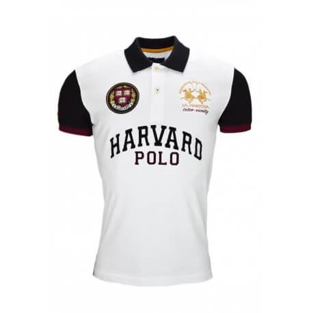 Polo La Martina Harvard blanc et noir pour homme