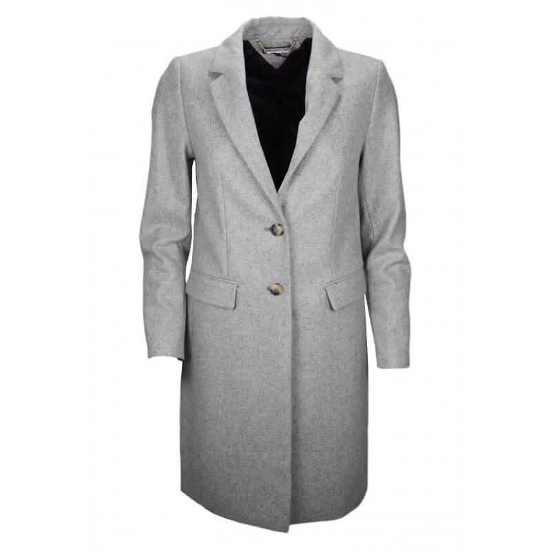 manteau long en laine tommy hilfiger carrie gris pour. Black Bedroom Furniture Sets. Home Design Ideas