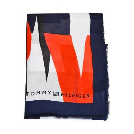 Foulard Tommy Hilfiger bleu marine et rouge pour femme