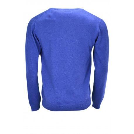 Pull col V Gant bleu pour homme
