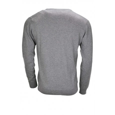 Pull col V Gant gris pour homme