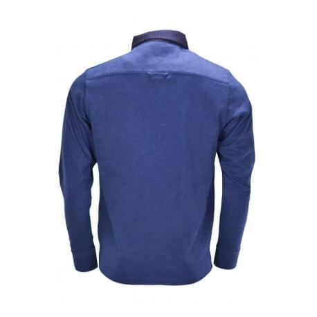 Polo manches longues Gant bleu marine pour homme