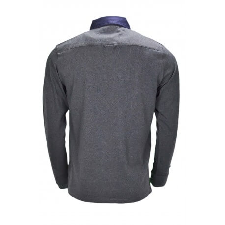 Polo manches longues Gant gris anthracithe pour homme