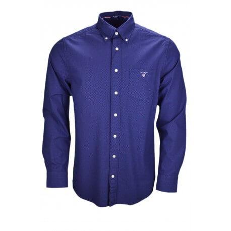 Chemise Gant bleu marine à pois rouge pour homme