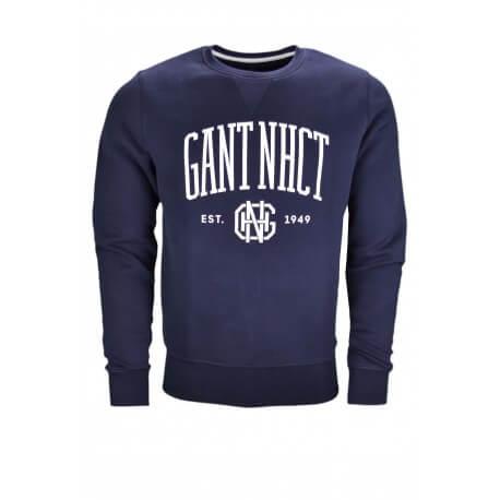 Sweat col rond Gant bleu marine pour homme