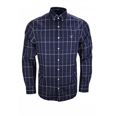 Chemise à carreaux Gant bleu marine verte et blanche pour homme