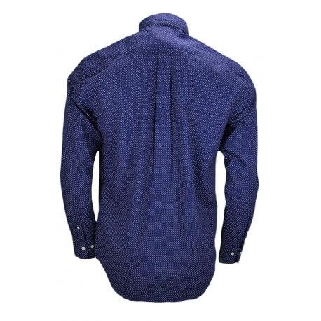 Chemise Gant bleu marine à pois blanc pour homme