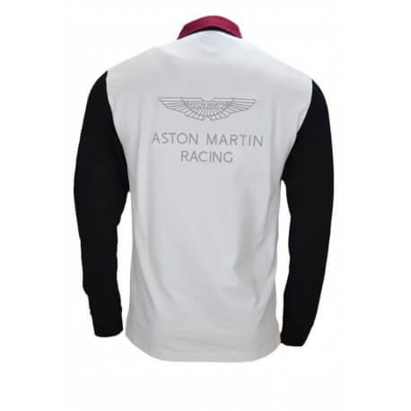 Polo manches longues Hackett Aston Martin rouge bordeaux noir et blanc pour homme
