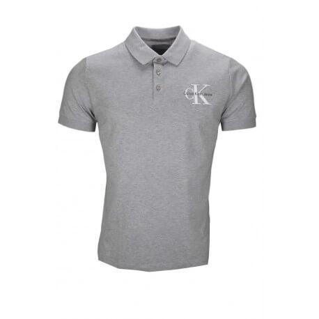 Polo manches courtes Calvin Klein gris pour homme
