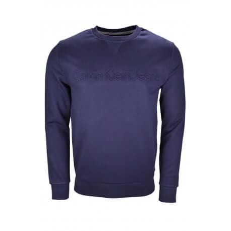 Sweat col rond Calvin Klein bleu marine pour homme