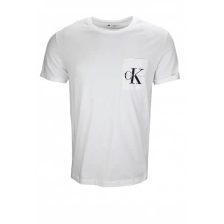 T-shirt manches courtes Calvin Klein pochette logo blanc pour homme