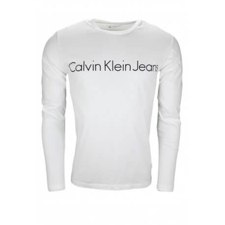 T-shirt manches longues Calvin Klein blanc pour homme