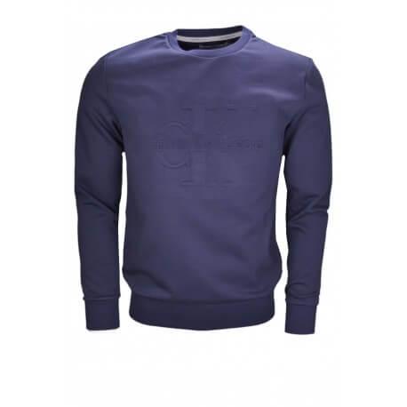 Homme Pour Rond Sweat Col To Calvin Relief Klein Marine Logo Bleu DWH29YEbeI