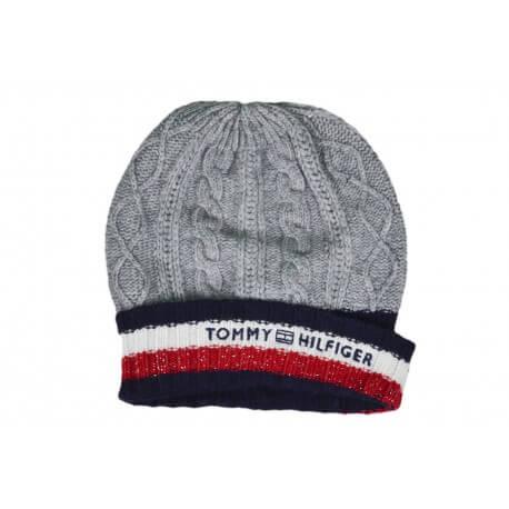 Coffret bonnet et écharpe Tommy Hilfiger gris laine et cachemire pour femme