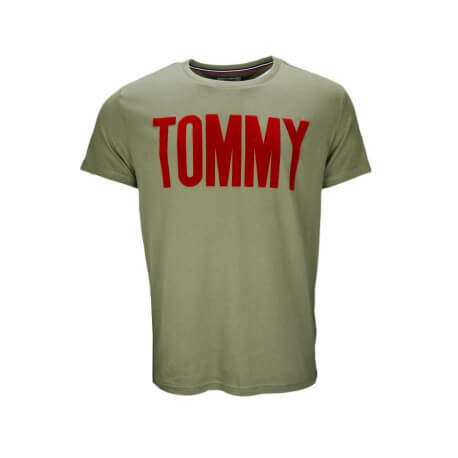 T-shirt col rond Tommy Hilfiger Dénim vert kaki pour homme