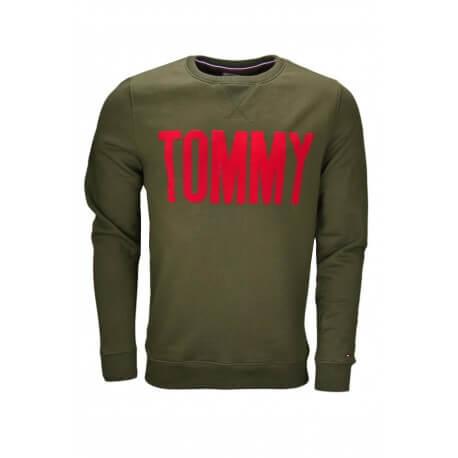 Sweat col rond Tommy Hilfiger Dénim Inscription vert kaki pour homme