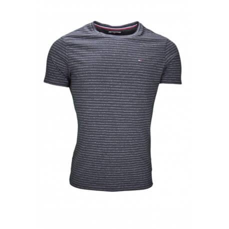 T-shirt col rond rayé Tommy Hilfiger noir pour homme