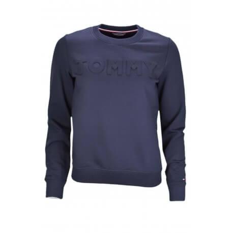 Sweat col rond Tommy Hilfiger logo gaufré bleu marine pour femme