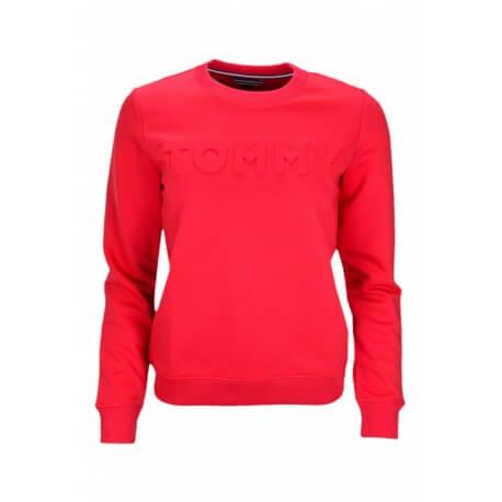 Sweat col rond Tommy Hilfiger Logo gaufré rouge pour femme