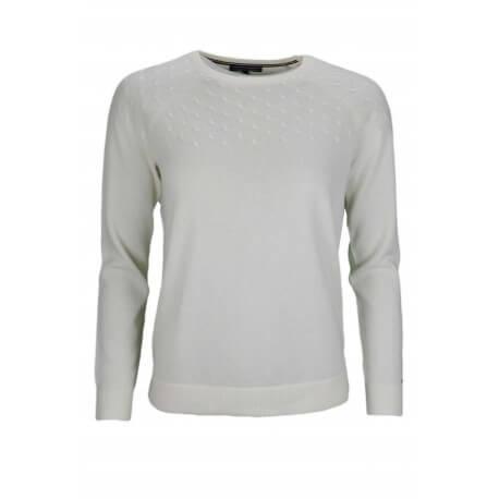 Pull col rond Tommy Hilfiger en laine blanc pour femme