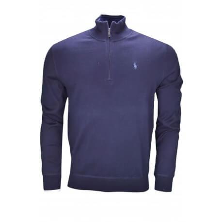 Pull col montant zippé Ralph Lauren bleu marine pour homme
