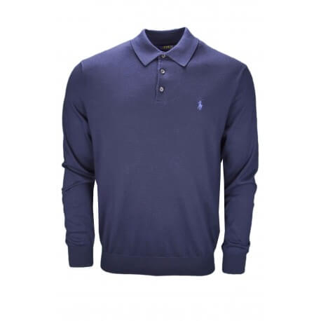 Pull col polo Ralph Lauren bleu marine pour homme