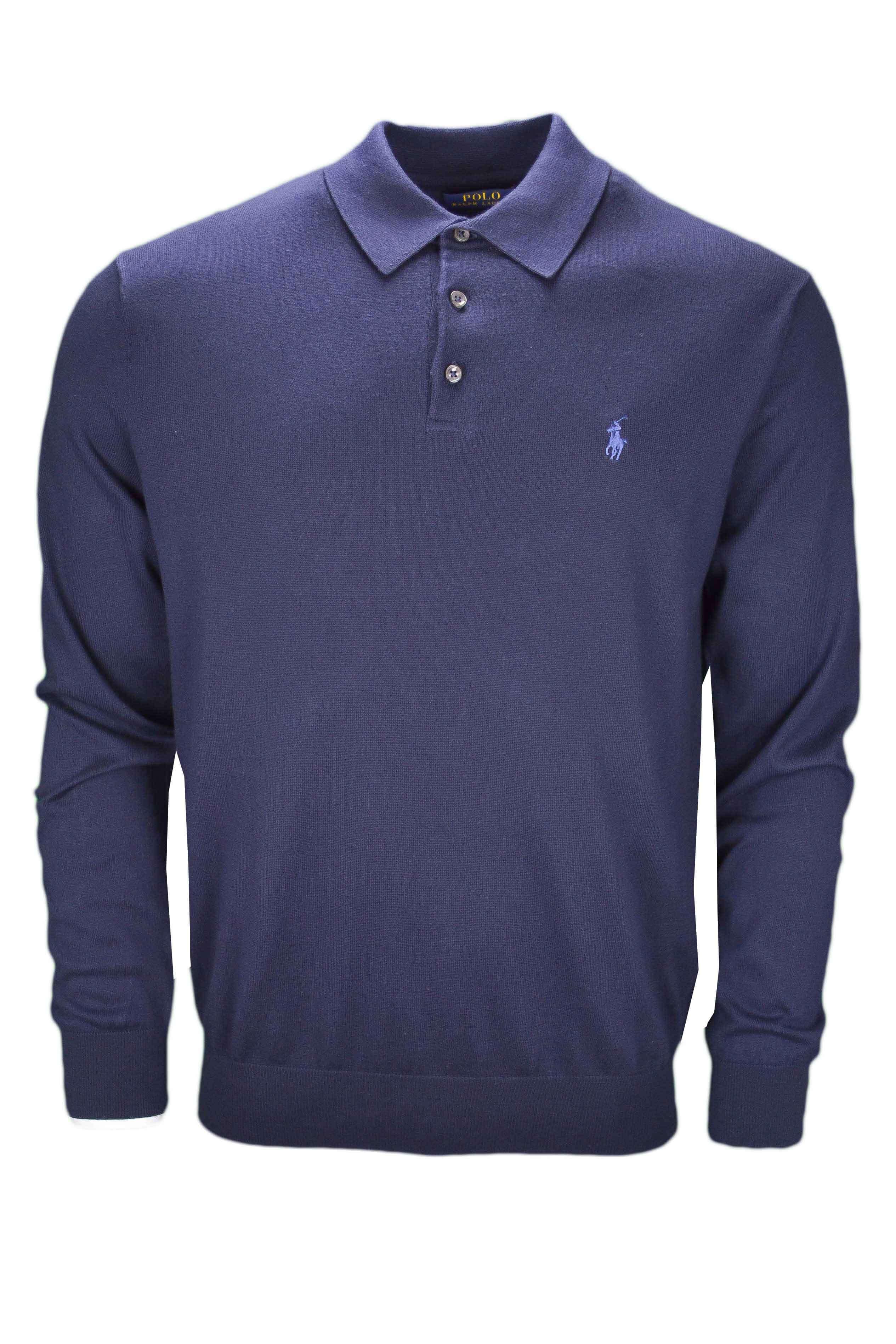 Pull col polo Ralph Lauren bleu marine pour