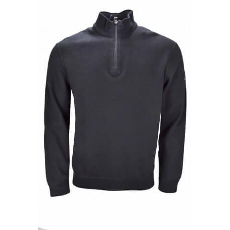 Pull réversible Ralph Lauren col montant noir et gris pour homme
