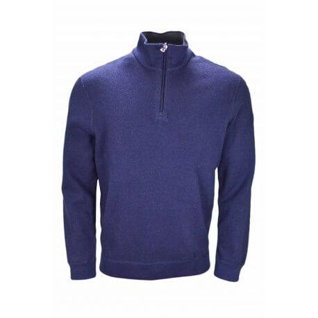 Pull réversible Ralph Lauren col montant bleu marine et gris pour homme