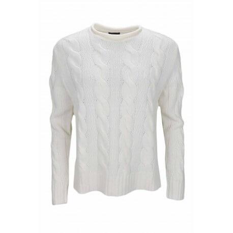 Pull col rond Ralph Lauren torsadé blanc crème pour femme