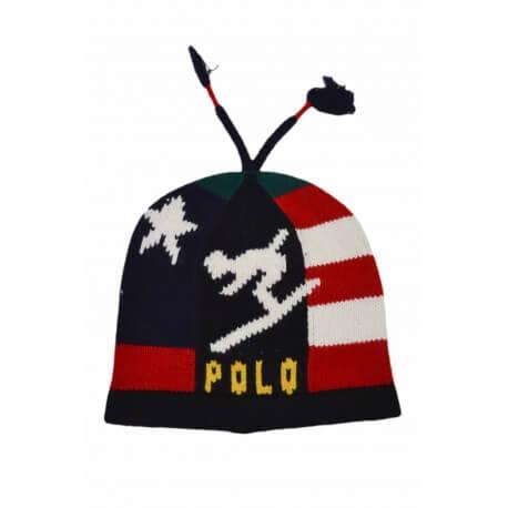 Bonnet Ralph Lauren en laine à motif bleu marine pour homme
