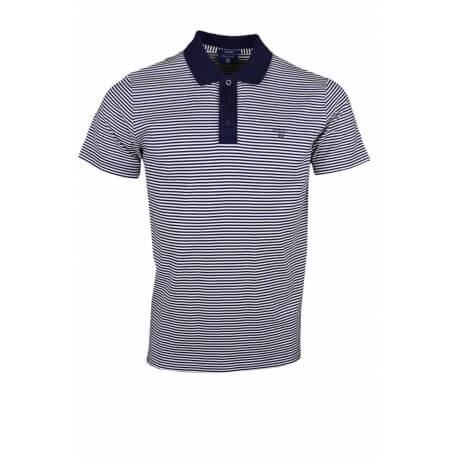 Polo Gant rayé bleu marine et blanc pour homme
