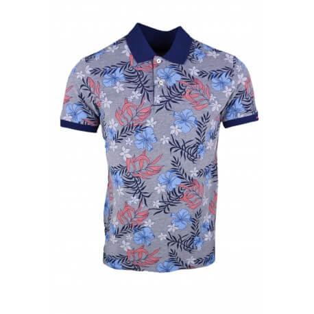 Polo Gant gris et bleu marine motif fleur bleu et rouge pour homme