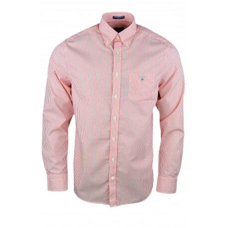 Chemise Gant rayée rouge orangé pour homme
