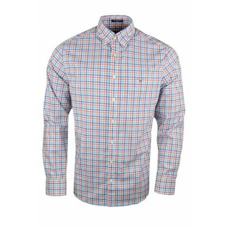 Chemise Gant à carreaux bleu et orange pour homme
