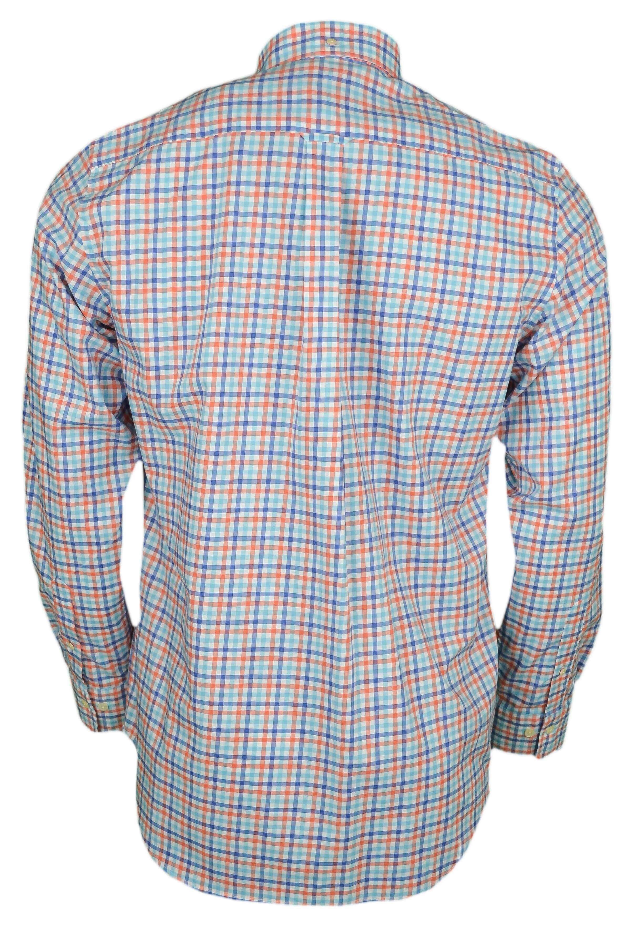 Chemise Gant à carreaux bleu et orange pour homme - Toujours au mei... 239a07004771