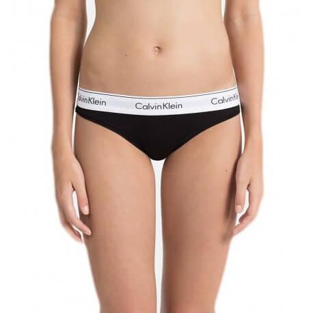 Culotte Calvin Klein noire bandeau blanc pour femme