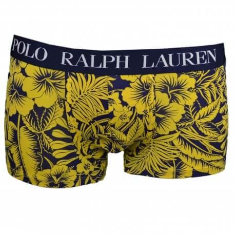 Boxer Ralph Lauren bleu marine motif floral jaune pour homme