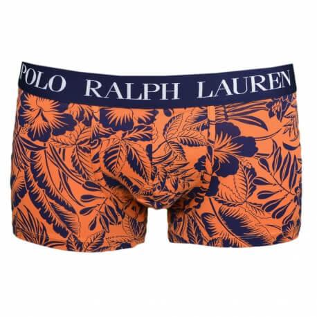 Boxer Ralph Lauren bleu marine motif floral orange pour homme