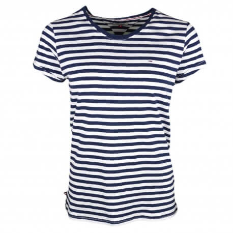 T-shirt col rond Tommy Jeans rayé bleu marine et blanc pour femme