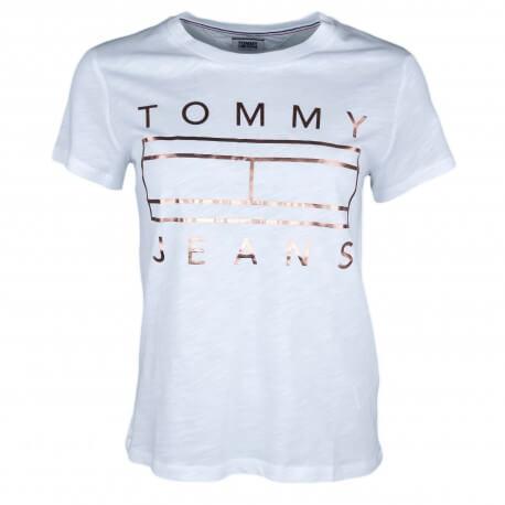 T-shirt col rond Tommy Jeans blanc logo doré pour femme