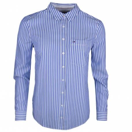 Chemise décontractée Tommy Jeans rayé bleu et blanche pour femme