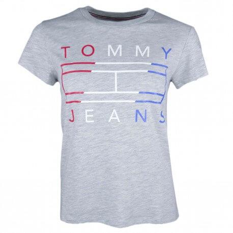 T-shirt col rond Tommy Jeans gris gros logo tricolore pour femme
