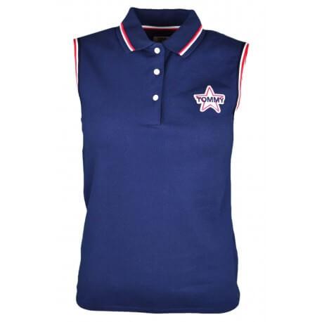 Polo sans manches Tommy Jeans bleu marine logo étoile pour femme